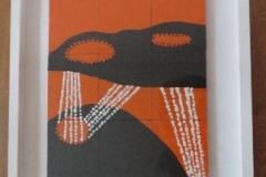Oranje-zwart kunstwerk van Robert Wagschal